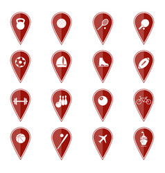 Set of red map pointers with sport icons vector