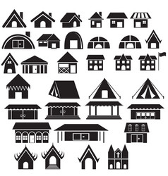 Set of tradition home style and other building vector
