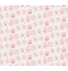 Tasty hand drawn seamless cupcake pattern vector image