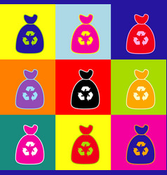 trash bag icon pop-art style colorful vector image