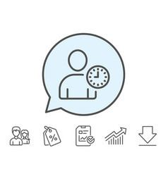 User with clock line icon profile avatar sign vector