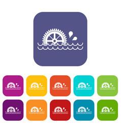 Waterwheel icons set flat vector