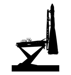 Silhouette space ship before the launch into orbit vector