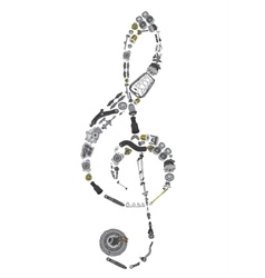 Treble clef assembled from new spare parts vector