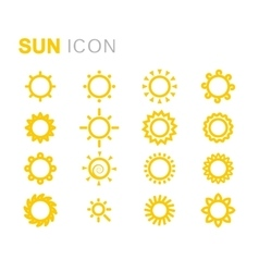 yellow sun icons set vector image