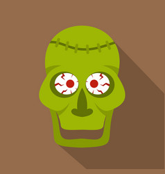 Green zombie skull icon flat style vector