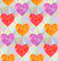 low poly hearts seamless pattern vector image