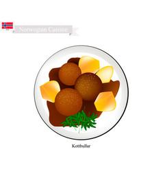 Kottbullar or meatballs a popular dish in norway vector