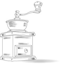 Sketch coffee grinder vector image