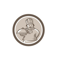 Chef cook serving food platter circle vector