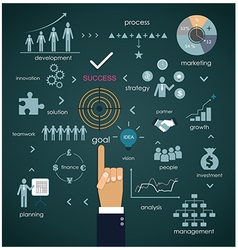 Businessman hand points to business planning vector