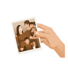 Hand holding family photo sepia isolated vector