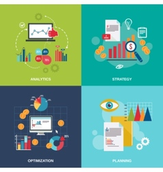 Business chart icons flat set vector image