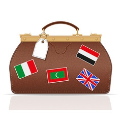 leather valise travel with constipation 02 vector image