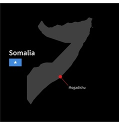 Detailed map of somalia and capital city mogadishu vector