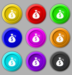 Money bag icon sign symbol on nine round colourful vector