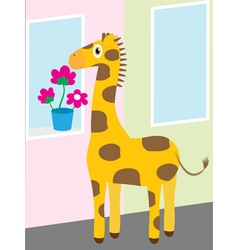 Giraffe near the window vector
