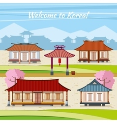 Old korean town with traditional houses vector