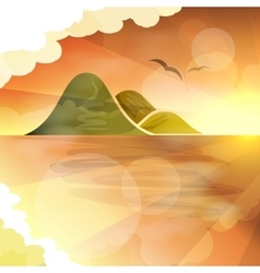 Tropical islands dreams sunset vector