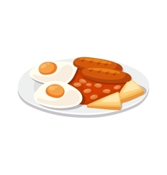 Breakfast with scrambled eggs and toasts sausage vector