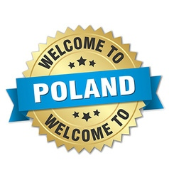 Poland 3d gold badge with blue ribbon vector