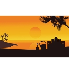 Silhouette of sand castle summer in seaside vector