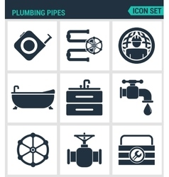 Set of modern icons plumbing pipe vector