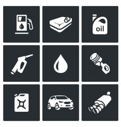 Set of fuel icons petrol station gasoline vector