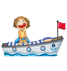 A boy in a boat with a red flag vector image vector image
