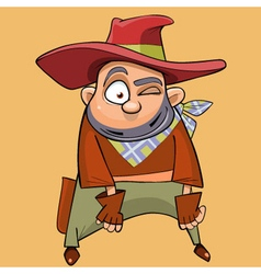 cartoon funny man in the clothes of a cowboy vector image vector image