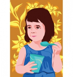 child eating vector image vector image