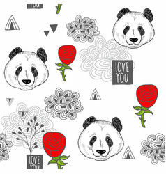 creative romantic background with cartoon pandas vector image vector image
