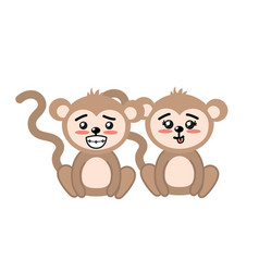 cute couple monkey wild animal with beautiful vector image vector image