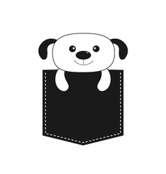 Dog in the pocket cute cartoon contour character vector