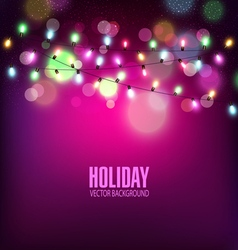 festive background of luminous garlands of light vector image vector image
