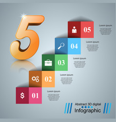 five stair infographics up the ladder to success vector image vector image