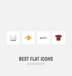 Flat icon dress set of brasserie banyan t-shirt vector