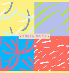 hand drawn seamless summer pattern collection vector image vector image