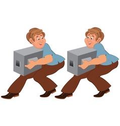Happy cartoon man in brown pants walking with vector image vector image
