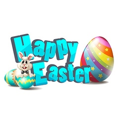 Happy easter with easter bunny and colorful eggs vector