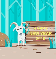 Happy New Year 2015 with Goat and wooden signboard vector image