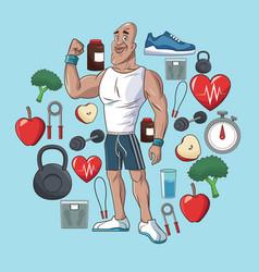 Healthy man sport food concept elements vector