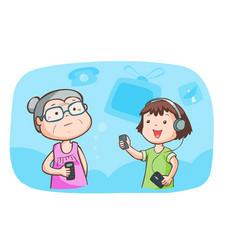 Kid talk to grandma talk about gadget vector