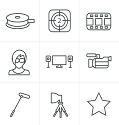 Line icons style black movie icon set on gray vector