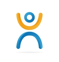logo man with their hands up vector image