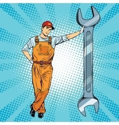 Mechanic with a wrench vector image