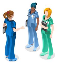 medical nurse education doctor training isometric vector image vector image