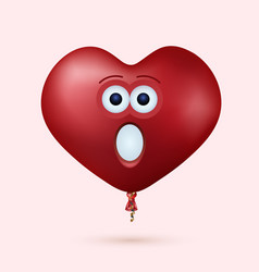 modern red heart balloon face with ribbon vector image
