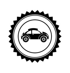 Monochrome circular seal with sports car in side vector