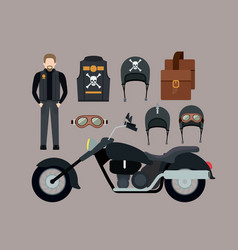 Motorcyclist and classic black motorcycle with vector